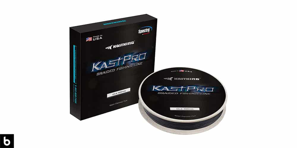 This is a product image, featuring a spool of black KastKing Superline.