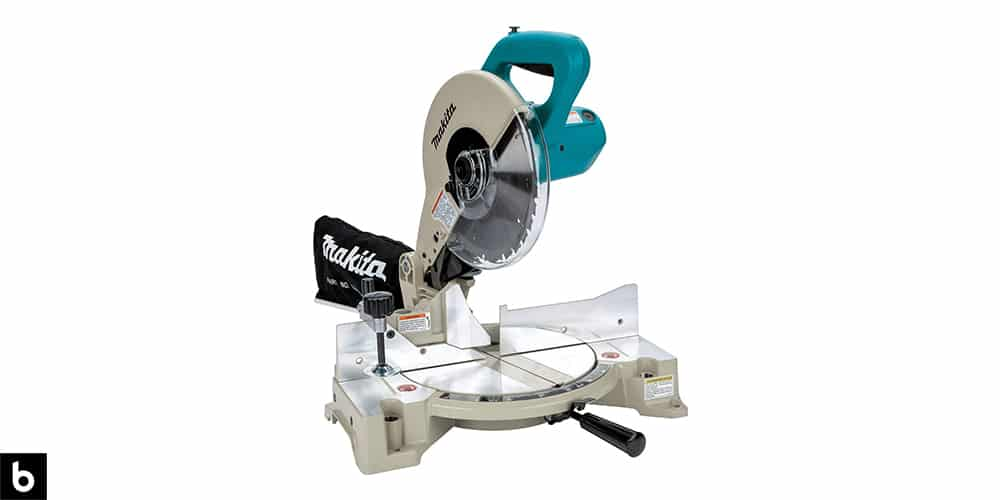 This is a product image, featuring a silver and teal Makita chop saw.