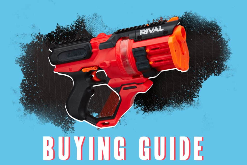 This is the cover photo for our Best Nerf Pistols 2021 article. It features a black and red Nerf Rival pistol overlaid on a blue background.