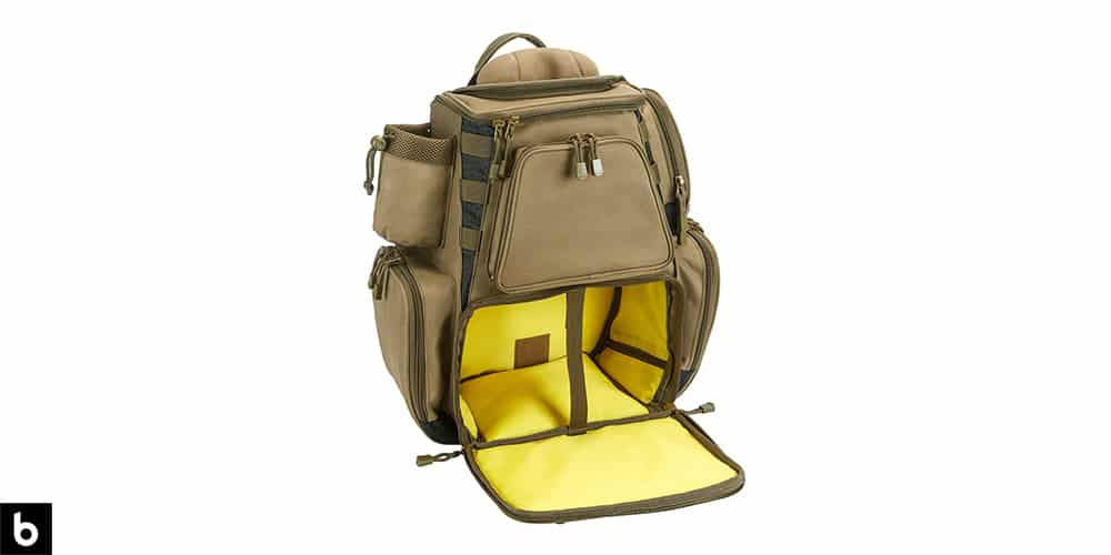 This is a product image, featuring an olive green Piscifun fishing tackle backpack.