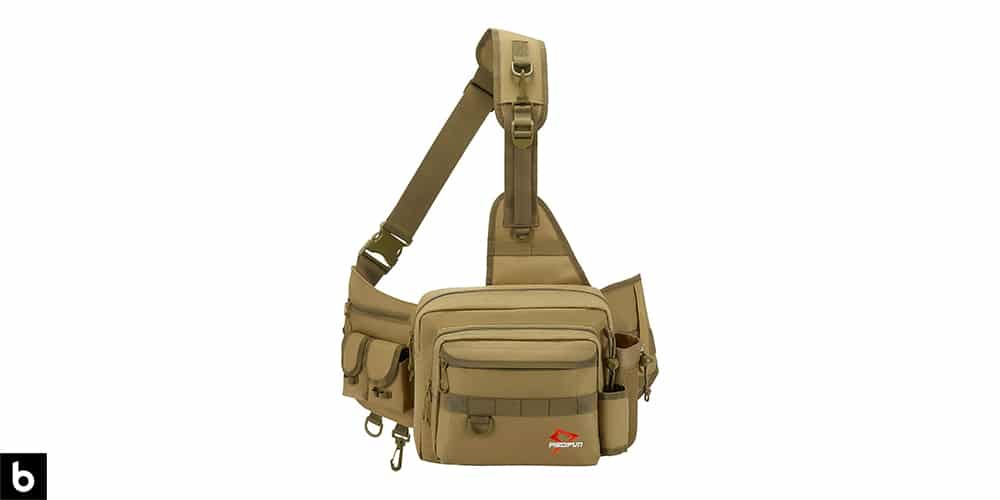 This is a product image, featuring an olive green Piscifun sling tackle bag.