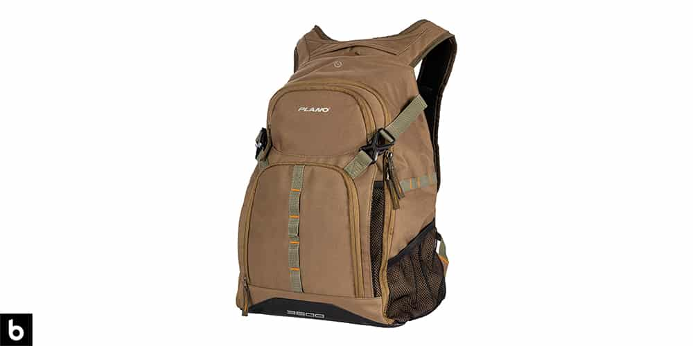 This is a product image, featuring a brown Plano E-Series fishing backpack.