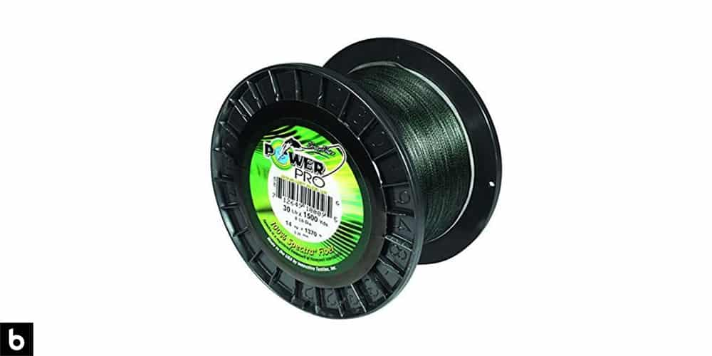This is a product image for our best braided fishing line 2021 article. It features a spool of PowerPro Spectra fishing line.
