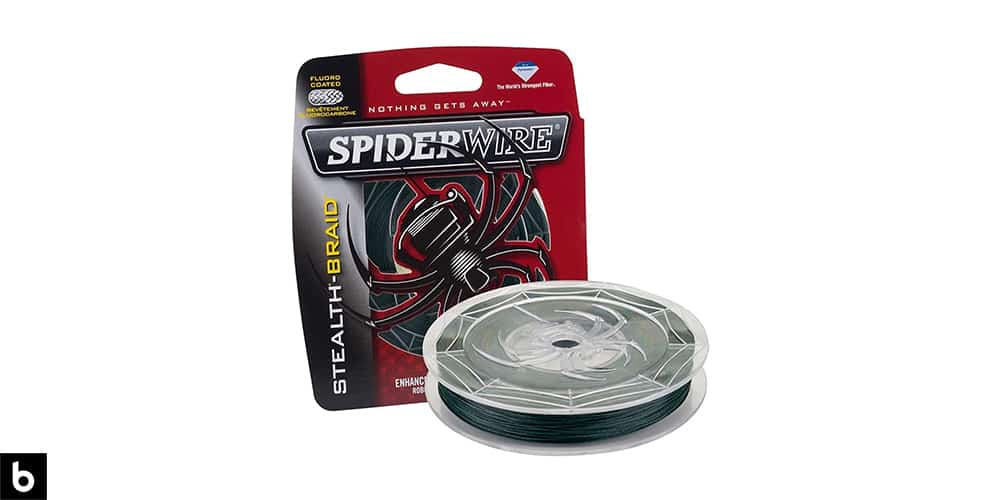 This is a product image, featuring a spool of black Spiderwire Stealth Superline.