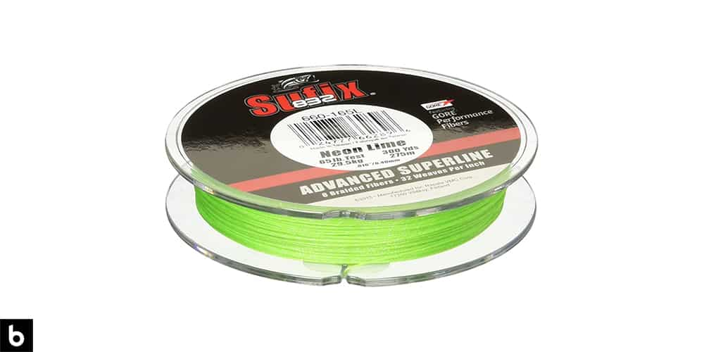This is a product image for our best braided fishing line 2021 article. It features a spool of neon green Sufix 832 fishing line.