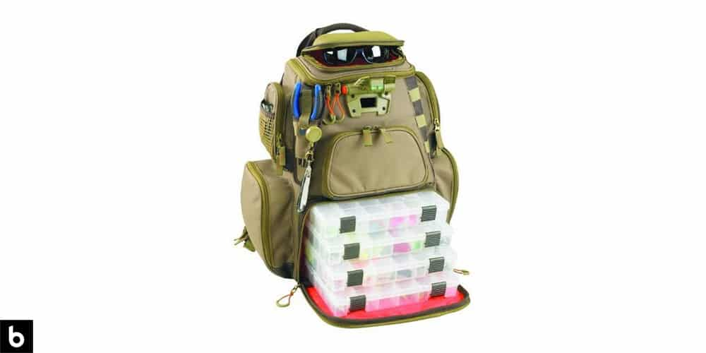 This is a product image, featuring an olive green fishing and tackle backpack, made by Wild River by CLC.